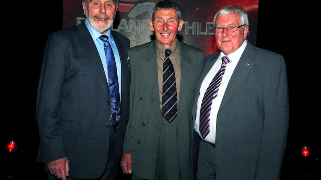 Basil Heatley, Ron Hill and Bill Adcocks (L to R)